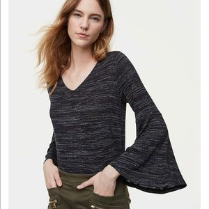 Loft Heather grey top with bell sleeves